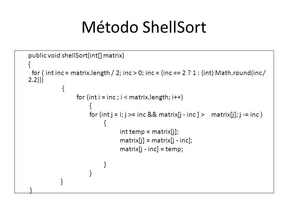 Método ShellSort public void shellSort(int[] matrix) {